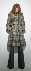 Belted tablecloth check plaid coat in dusty greens from Debenhams.